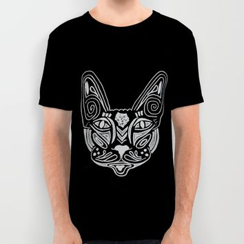 Mandala Cat BW All Over Print Shirt by MaksciaMind