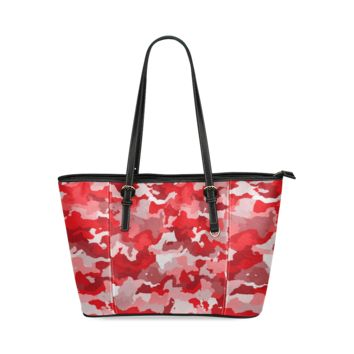Women Shoulder Bag Camouflage Red Leather Tote Bag