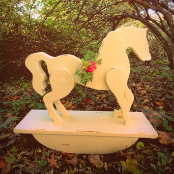 Shabby Home Decor, Distressed Rocking Horse, Wood, Vintage Cottage shabby chic, up cycled, cream white chalk paint RARE gorgeous, home decor
