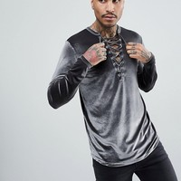 ASOS Longline Long Sleeve T-Shirt With Deep Lace Up Neck In Velour at asos.com