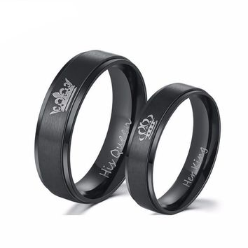"Design Couple Rings ""His Queen ""and ""Her King""  for Lovers"
