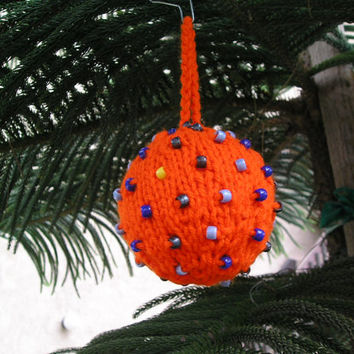 Christmas Tree Ornament ~ Knitted & Beaded ~ Orange with Blue Beads