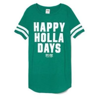 "Victoria's Secret PINK ""HAPPY HOLLA DAYS"" T Shirt"
