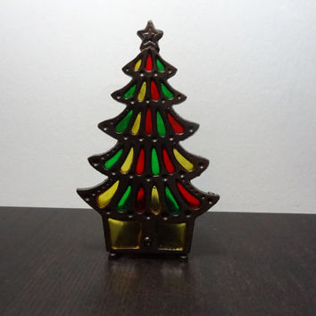 Vintage Cast Iron Christmas Tree Candle Holder with Red, Green and Yellow Colored Glass - Old Fashioned Christmas