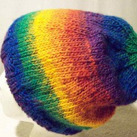 Slouchy Hat Beanie Tam Varigated Bright Multi Stripes Handknit
