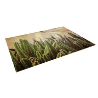 "Jillian Audrey ""Green Grass Cactus"" Green Brown Indoor / Outdoor Floor Mat"