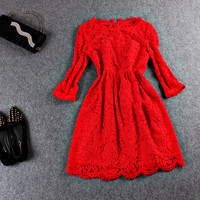 Casual Lace Embroidered Elstic Waist Mini Skater Dress