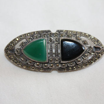 Sterling Marcasite  Brooch Oynx Chrysophase Vintage 1960s Jewelry