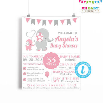 Elephant Baby Shower Welcome Sign, Baby Shower Poster, Baby Shower Chalkboard Sign Template, Girl Baby Shower Printable, 16x20 EL0005-LP