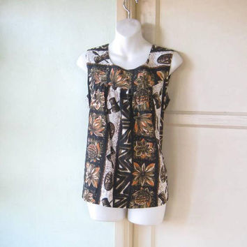 Sleeveless 1970s Vintage Tiki Top in Brown/Olive Green; Women's Medium Hawaiian Cotton Top; U.S. Shipping Included