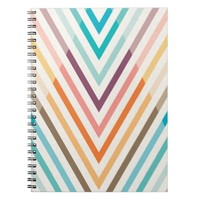 Triangle Geometric Chevron Rainbow Spiral Notebook