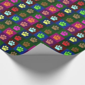 Multicolored Dog Paw Print Pattern Wrapping Paper