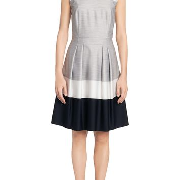 'Halira' | Textured Crepe Belted Shift Dress by BOSS
