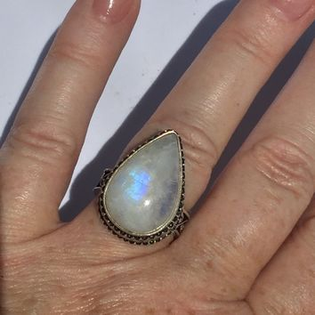 Teardrop Vintage style Rainbow Moonstone Sterling Silver Ring Size 7
