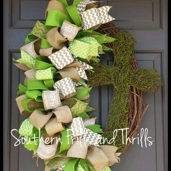 Grapevine Wreath, Grapevine Cross Wreath, Ribbon Wreath, Funky Bow Wreath, Spring Wreath, Spring Door Hanger, Moss Wreath, Cross Wreath