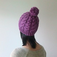 Hand Knitted Cable Chunky Beanie in Dark Lilac - Beanie with Pom Pom - Seamless - Wool Blend - Winter Fall