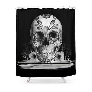 Society6 Pulled Sugar, Day Of The Dead Skull Shower Curtains