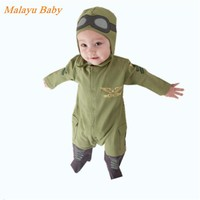 Malayu Baby Brand Europe and the new baby pilot Romper climbing clothes infant long-sleeved army green hooded Romper