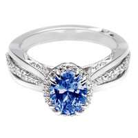 1.41 carats Blue oval & white round halo diamond anniversary ring white gold 14K