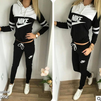 """NIKE"" Fashion Casual  Letter Print Hooded Long Sleeve Set Two-Piece Sportswear"