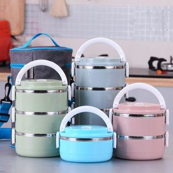 ONETOW Portable Cute Mini Lunch Bento Box Thermal Insulation Leak-Proof Stainless Steel Dinnerware Sets Day-First?