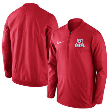 Men's Nike Red Arizona Wildcats 2017 Coaches Sideline Lockdown Half-Zip Jacket