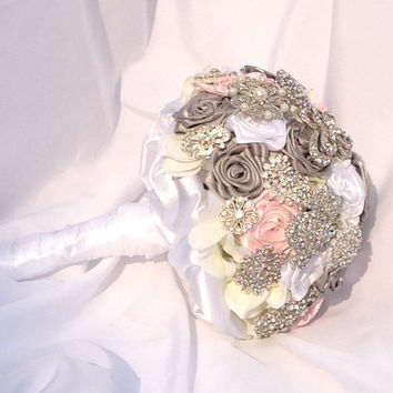 10 inch Wedding Brooch Bouquet with Pink, Grey and White Satin  Ribbon Roses