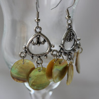 Yellow Green Dangling Shell Chandelier Earrings - Handmade Jewelry - Long Earrings - OOAK - Ready to Ship