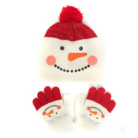 Red Cute Hat & Glove Set Kids Knit