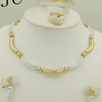 2016 Fashion vintage 18K gold plated crystal bridal jewelry sets Italian set for women girls wedding Jewelry sets