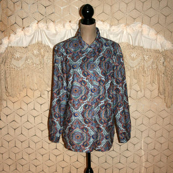Vintage 90s Womens Shirt Plus Size XL Blouse Hippie Bohemian Print Blue Oversized Flannel Long Sleeve Button Up Casual Tops Vintage Clothing