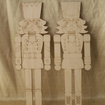 nutcracker 2 piece set laser cut outsunfinished woodchristm