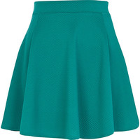 River Island Womens Dark green textured skater skirt