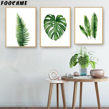 FOOCAME Watercolor Plant Leaves leaf Monstera Posters and Prints Art Canvas Painting Home Decor Wall Pictures For Living Room