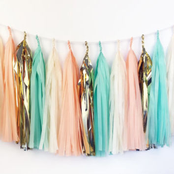 Mint Peach Tassel Garland  - Party Decoration // Wedding Decor // Nursery Decoration