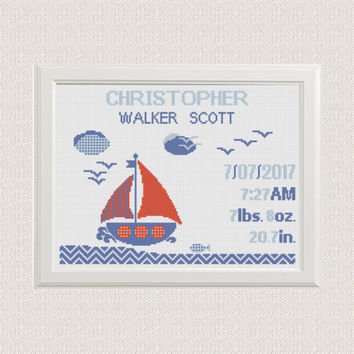 cross stitch baby birth sampler, birth announcement, nautical theme, sailboat with Clouds, gulls, customizable DIY pattern unique birth gift
