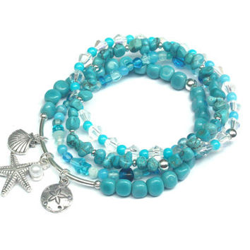 beach stretch bracelets, sea shell beaded bracelets, beach bracelet, seashell jewelry, starfish bracelet, starfish charm, beachy jewelry
