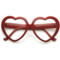 Cute Womens Dapper Oversize Heart Shape Clear Lens Glasses 9219