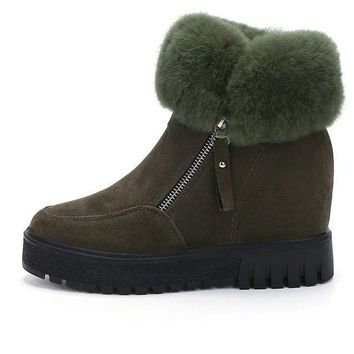 Hot Deal On Sale Winter Thick Crust Height Increase Tassels Cotton Boots [79792570393]