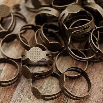 18mm Adjustable Antique Bronze Ring Bases with 8mm Pad Jewellery Findings Jewellery Making diyforstyle