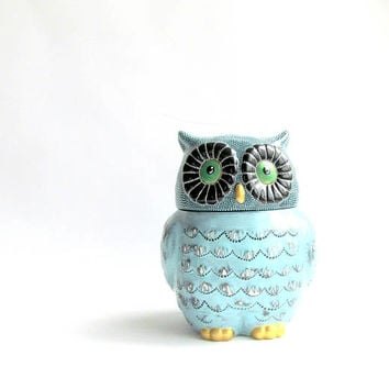 OWL Cookie Jar: Blue Owl Cookie Jar Hand Painted Cookie Jar Ceramic Jar Dot painting Owly Ceramic Cookie jar