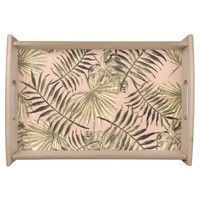 Palm leaf tropical serving tray
