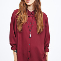 Pins & Needles Relaxed Oversized Shirt in Red - Urban Outfitters