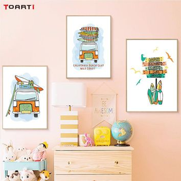 Cartoon Car Vacation Surf Canvas Art Painting Prints And Poster Wall Pictures For Lounge Kids Rooms Decoration Home Decor Murals