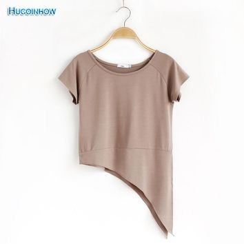 HUCOINHOW Soft Modal Dance Wear Round Neck Yoga Shirts Short-sleeved Sports T-shirt Women's Yoga Top Clothing Solid Color