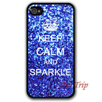 iPhone 4 Case, iphone 4s case -- Keep Calm and sparkle iPhone 4 Case, blue sparkle graphic iphone 4 case