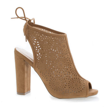 Morris25 Chestnut F-Suede by Wild Diva, Chestnut Suede Peep Toe Laser Perforated Heeled Mule Sandals