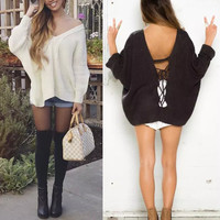 Knit Long Sleeve V-neck Sweater [9688308431]