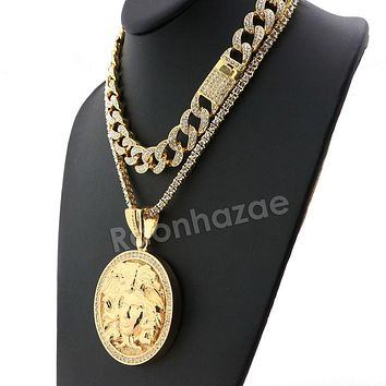 Hip Hop Iced Out Quavo MEDUSA Miami Cuban Choker Tennis Chain Necklace L10