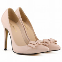 Pointed Bowknot Stiletto Heel Shallow Shoes